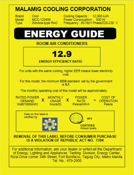 Energy Guide Label for Air Conditioners